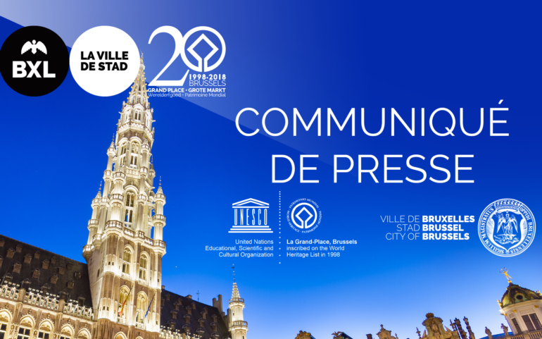 COMM PRESSE | 20 ans d'inscription de la Grand-Place sur la liste du Patrimoine Mondial UNESCO : placement de 7 logos en bronze